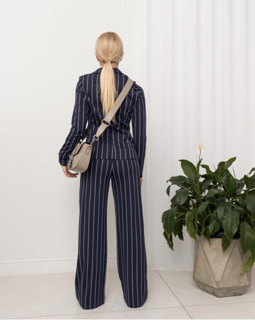 Костюм жакет с брюками из трикотажа в полоску