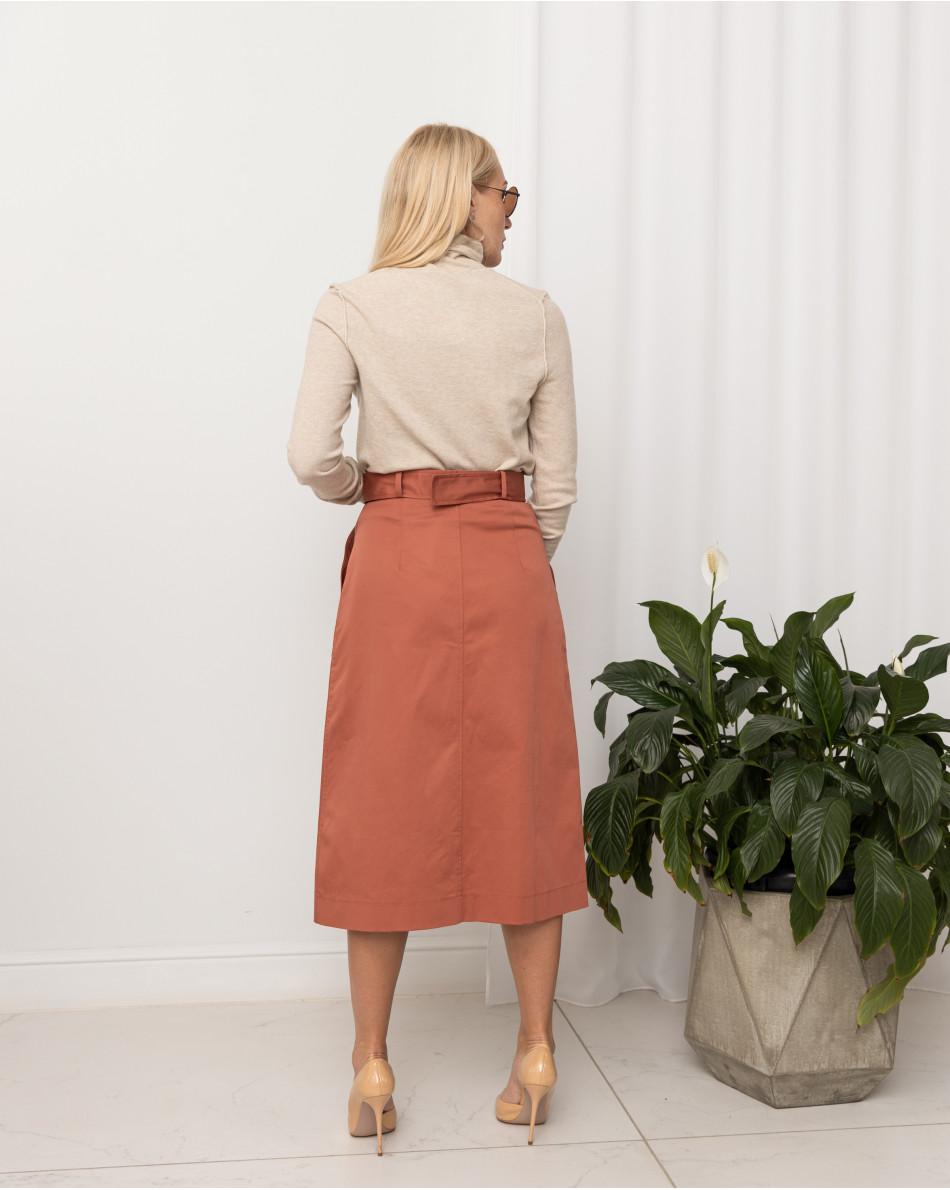 Юбка с карманами на пуговицах спереди с ремнем