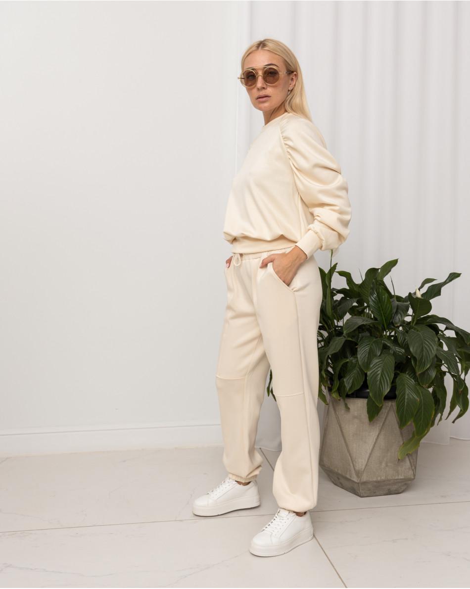 Костюм трикотажный свитшот со сборками на рукавах и брюками