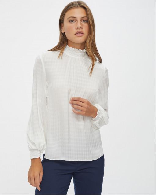 Блуза с воротником-стойкой на резинке