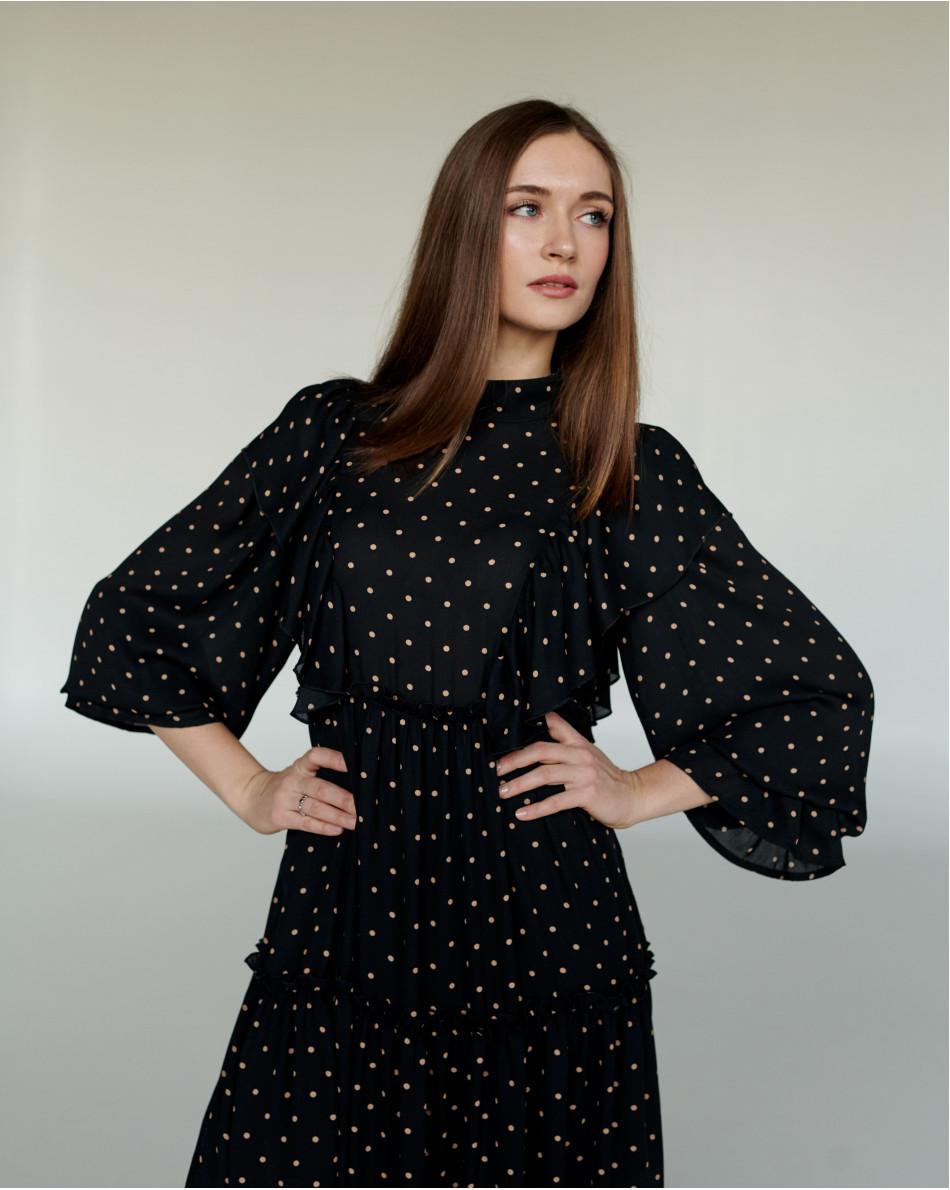 Платье с рюшами в горох