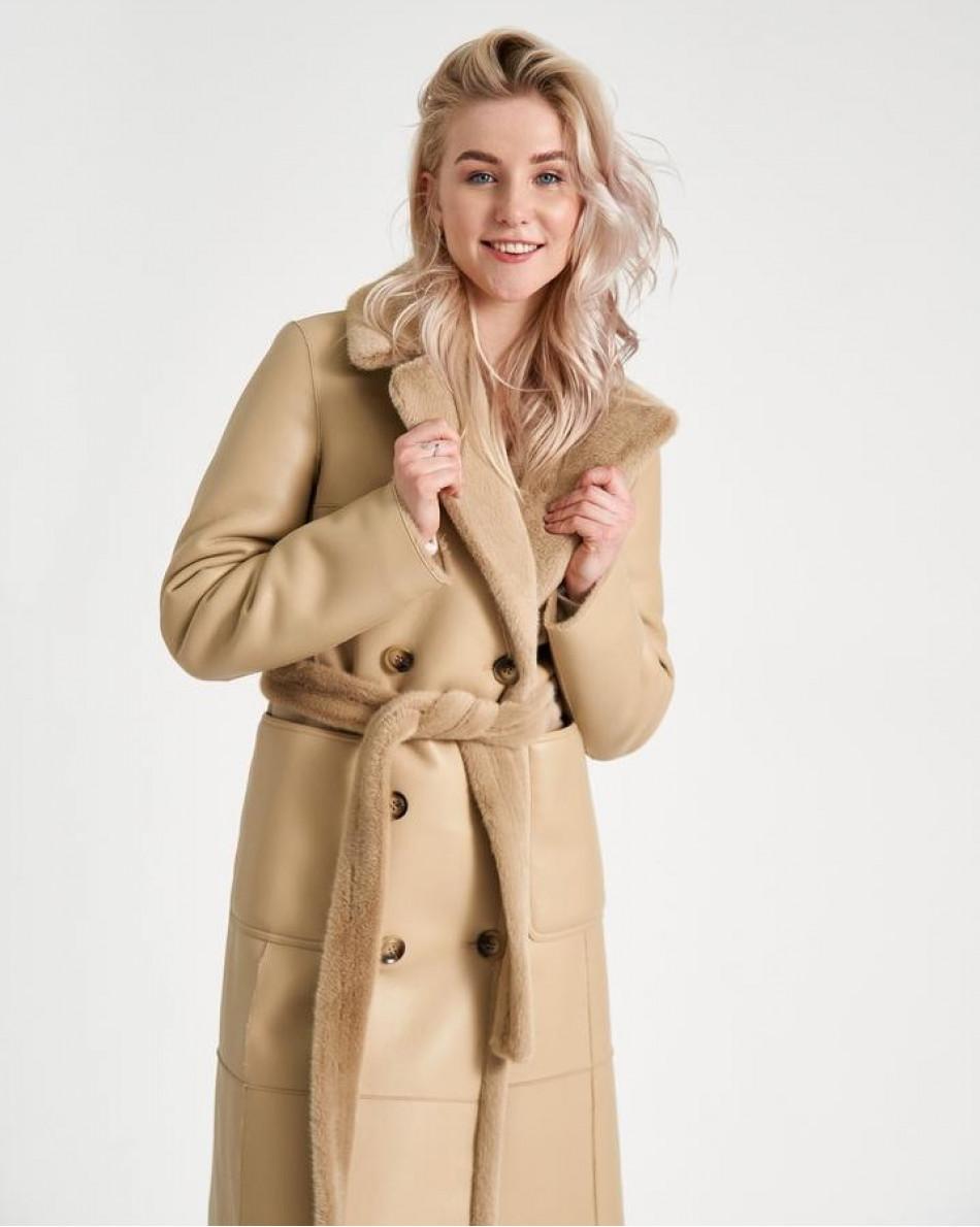 Пальто двубортное из экомеха